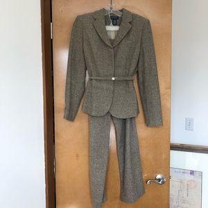 Tan tweed women's pants suit.